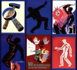 Protectia muncii - set de 6 ilustrate reproduceri dupa afise originale, Necirculata, Printata