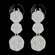 Cercei placati cu Aur 18K si Diamante, Anastasia Platinum
