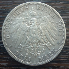 (A729) MONEDA DIN ARGINT GERMANIA, PRUSIA - 3 MARK 1908, LIT. A, WILHELM II