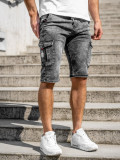 Cumpara ieftin Pantaloni scurți de blugi cargo negri Bolf KR1201