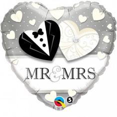 Balon nunta inima din folie 43cm Mr & Mrs