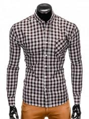 Camasa pentru barbati, neagra, cu model, slim fit, casual, buzunar piept, cu guler - k394 foto