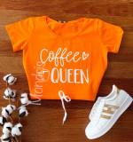 Cumpara ieftin Tricou dama ieftin din bumbac portocaliu cu imprimeu Coffee Queen