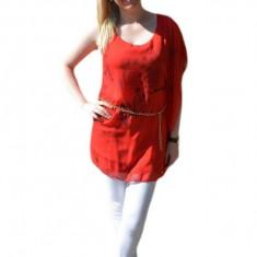 Bluza cu croi original, material subtire rosie, model de fluturi