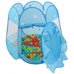 Cort de joaca pentru copii, albastru, cu 100 bile colorate incluse
