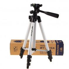 Trepied telescopic cu 4 segmente si cap rotativ, inaltime maxime 1 metru