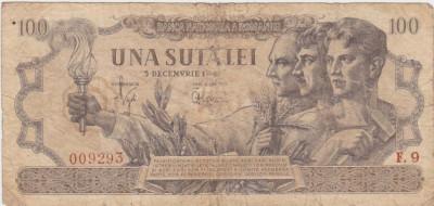 ROMANIA 100 LEI 5 DECEMBRIE 1947 F foto