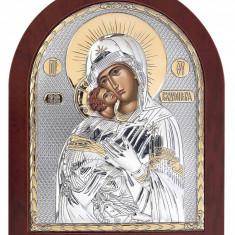 Icoana Maica Domnului Vladimir pe Foita Argint 925 Auriu 15.6x19cm Cod Produs 1393
