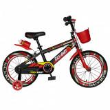 Bicicleta baieti Rich Baby R14WTB 14 inch cu roti ajutatoare 3-5 ani negrurosu