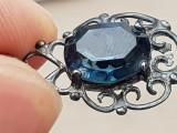 Lantisor si medalion argint 925 filigranat - piatra posibil acvamarin