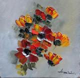 Tablou ulei (15/15 )-ANEMONE, Flori, Impresionism