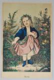 """""""Spring"""" veche litografie colorata manual"""