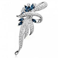 Brosa eleganta - floare cu cristale - argintie