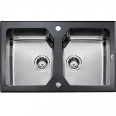 Chiuveta Teka Expression Lux 2B 86 cu doua cuve ventil pop-up inox si sticla neagra