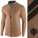 Camasa pentru barbati, maro inchis, slim fit, casual - Monument Pierre