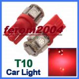 Led bec T10 W5W pozitie 5 smd de culoare rosu