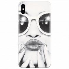 Husa silicon pentru Apple Iphone X, Black And White Portrait Blonde Model In Fashion Sunglasses