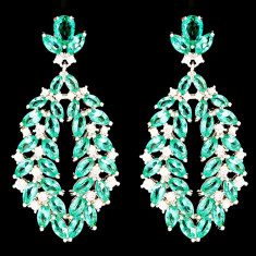 Cercei placati cu Aur 18K si Diamante, Omega Platinum & Emerald