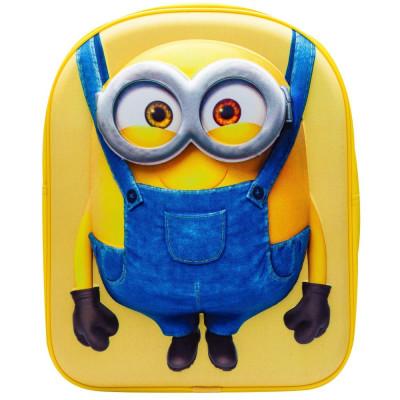 Ghiozdan 3D cu minion - galben cu albastru - 33 x 26 x 10 cm foto