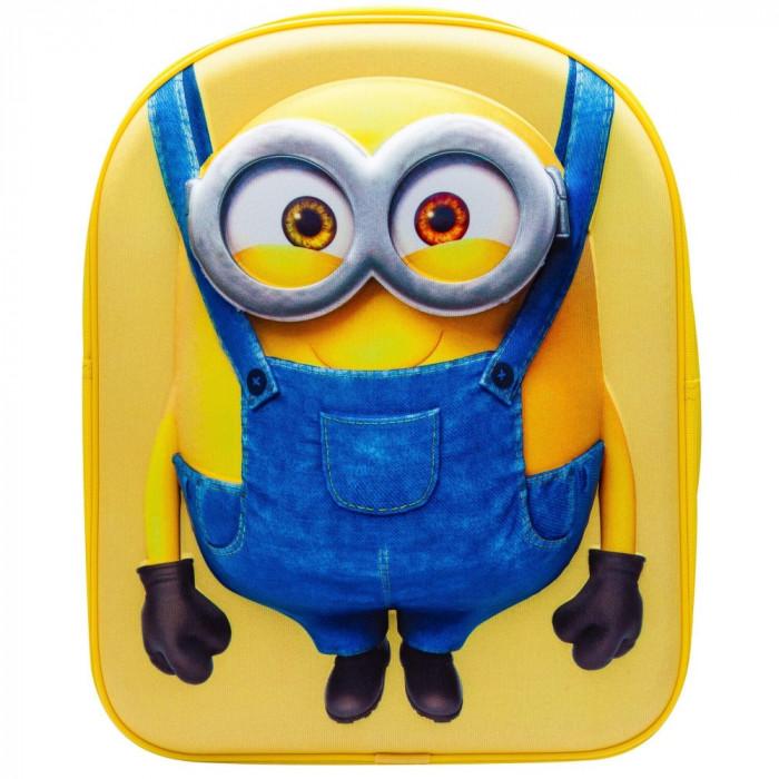Ghiozdan 3D cu minion - galben cu albastru - 33 x 26 x 10 cm