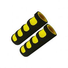 Set 2 mansoane, cu bureti scurti, pe mana, negru/galben, YTGT-50099