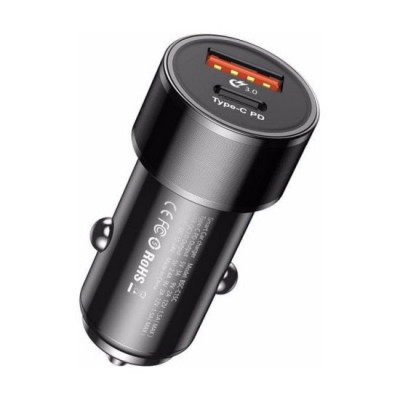 Incarcator Auto Baseus Small Screw cu functie QuickCharge 30 Iesiri USB si USBC 36W Negru foto