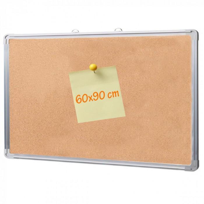 Panou tabla pluta, rama din aluminiu, 60x90 cm, fixare perete