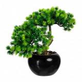 Cumpara ieftin Planta artificiala in ghiveci ceramic, Bonsai Larch Verde, H25 cm