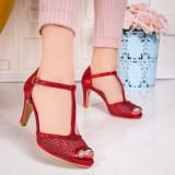 Sandale dama eleganti rosii Torinia