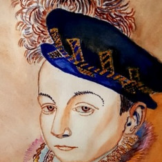 Tablou - portret doamna epoca - acuarela-rama, Portrete, Ulei, Realism