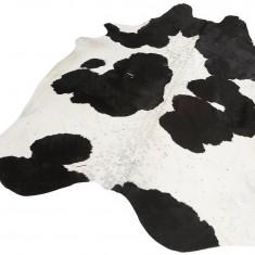Covor din piele de bovina Rinderfell masura L, alb cu pete negre