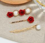 Set 3 Agrafa Pearls Red Rose Elegant 10A22A130, Alb
