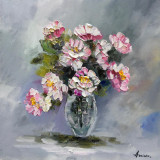 Tablou ulei (30/30cm )-BUJORI, Flori, Impresionism