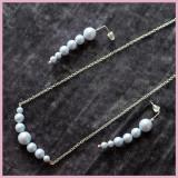 Set Colier si Cercei din Perle Swarovski Dreamy Blue si Argint