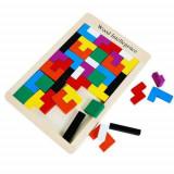 Joc logic Tetris din lemn.