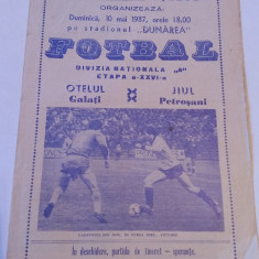 Program meci fotbal OTELUL GALATI - JIUL PETROSANI (10.05.1987)