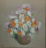 """TABLOU, NICOLAE BLEI, """" FLORI """" , ulei / panza, 2011"""