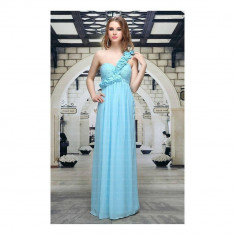 Rochie lunga eleganta, de culoare bleu, 3XL, L, S
