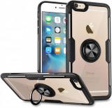 Husa Spate Premium Iring Metalic Upzz Clear iPhone 6 / 6s Cu Ring Metalic Pe Spate Transparent