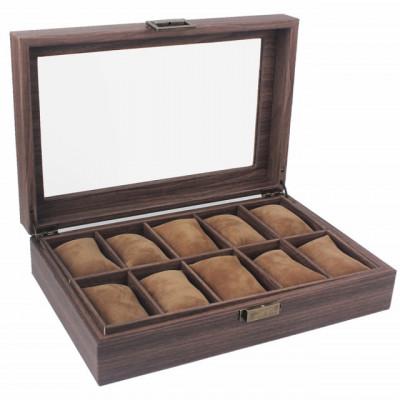 Cutie eleganta pentru depozitare si organizare ceasuri si bijuterii cu 10 compartimente, model Pufo Elite, maro inchis foto