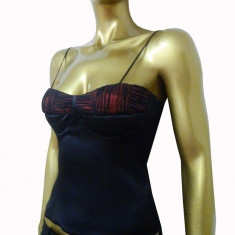 Top tip corset elegant din satin negru