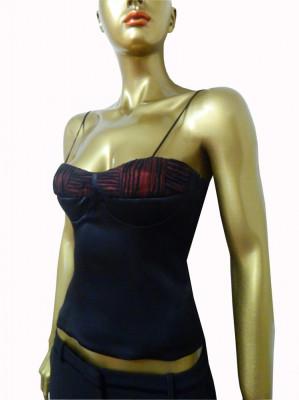 Top tip corset elegant din satin negru foto