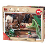 Puzzle 500 piese Puppies On The Stairs
