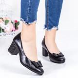 Pantofi dama piele naturala negri cu toc Fidamio -rl