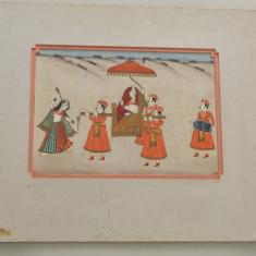 Veche pictura indiana pe matase, Scene gen, Tempera, Altul