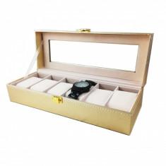 Caseta pentru 6 Ceasuri Aurie din piele ecologica - WZ3709