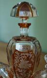 Set vintage din cristal suflat si gravat manual, Egermann, Cehia