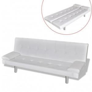 Canapea extensibilă 2 perne, piele artificială, reglabil, crem