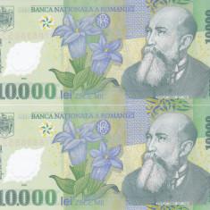 Bancnota Romania 10.000 Lei 2000 - P112b UNC (2 buc consecutive M.Isarescu )