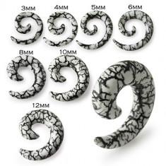 Expander spirală pentru ureche, alb, cu un model de crăpături - Lățime: 4 mm